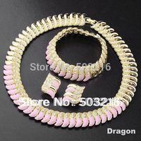 Promotion High Quality Clear Crystal 18K Gold Plated Pink Enamel Design Fashion Bridal Wedding Jewelry Set