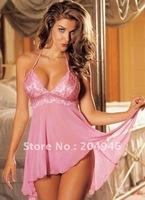 3 colors plus size M~ XXXL Sexy Lingerie babydoll Lace Sleepwear G-STRING Sexy women chemise sleepwear Free shipping MZ6061