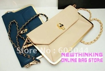 2012 FASHION ENVELOPE DAY CLUTCH BAG+WOMAN SKULL CLUTCHES BAG WITH METAL FRAME+WOMAN SKULL SHOULDER BAG WITH METAL CHAIN 020