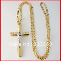 "Free Shipping/ Min order 10$ 18K YELLOW GOLD GP OVERLAY 24"" CUBAN NECKLACE&JESUS CROSS GOD PENDANT/Great Gift/Great Money Maker"