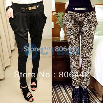 New Women Metal Strip Accent Elastic Waist Side Pocket Long Harem Pants Trousers 10