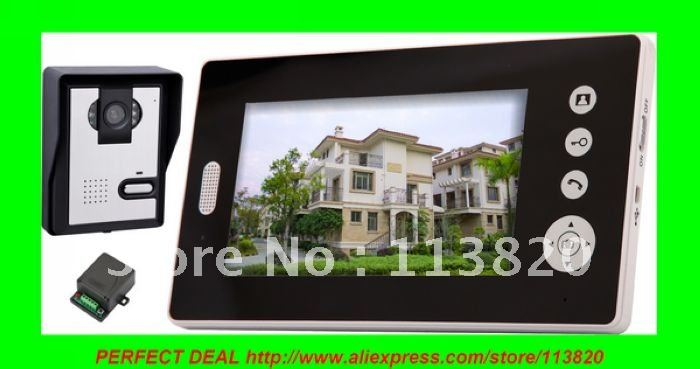 2.4GHz Wireless 7 Inch Digital TFT LCD Video Door Phone Home Alarm IR Camera Intercom System(China (Mainland))