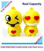 Free Shipping 5pcs/Lot Cartoon Lovely Smile USB Key Flash Drive USB Flash Drive Memory Thumb USB  Pen Drive