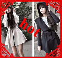 2012  FASHION NEW STYLE slim waist woman coat attached a cap grace lady wind coat FREE SHIPPING FREE GIFT