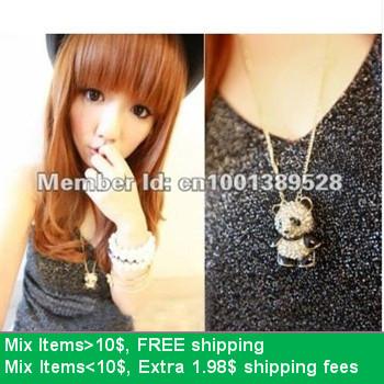 Hello kitty N4018 fashion green rhinestone eyes black white panda bear pendant necklace hewelry(China (Mainland))
