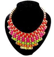 New fashion Geometric Multi Layer RibbonBib Chunky Choker Necklaces Colorful Ribbon Stripe Weave Necklace