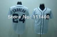 Free shipping,Baseball jersey,Detroit Tigers #24 Miguel Cabrera jersey,sports jersey,can mix order,size 48-56