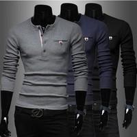 2014 autumn winter new fashionable Korea multi Placket  casual men's slim leisure sweater fashion Free shipping.size M-XXL!
