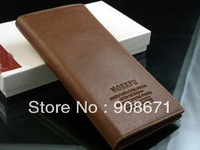 Free shipping 2012 Good quality new arrival Man long purse leather wallet leather wallet business ticket holder