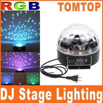 Mini LED RGB Crystal Magic Ball Effect light DMX Disco DJ Stage Lighting EU/US Plug Free shipping wholesale