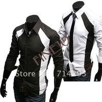 New men's Casual Luxury Stylish Slim Long Sleeve Dress Shirts 3 sizes M L XL white black dropshipping 3403