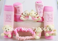 Free shipping baby bear 5 in 1 car Seat Belts & Padding cover set & Handbrake Grips cover +high quality  cute 3 color wholesale