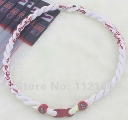 New Style St. Louis Cardinals White Titanium Necklace Baseball Sports Tornado Ionic 2 Rope College Teams Free Shipping 50PCS(China (Mainland))