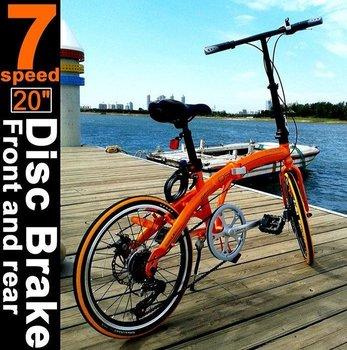 "20"" front and rear disc brakes, 7 grades Variable speed folding bike,Double disk brake bike for road, height 140-185CM(bike007)"
