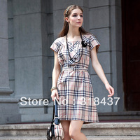 2013 High Quality  women's slim vintage outfit plaid dress,F11020226-13