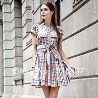 2013  fashion elegant slim gentlewomen's formal OL 100% cotton plaid short-sleeve dress,L22028-13