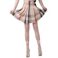 2013 High Quality Women's  plaid cotton pleated medium skirt,123009