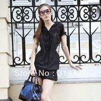2013 women's slim chiffon plaid patchwork with a hood short-sleeve dress,165033