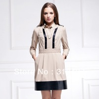 2013 High Quality Women's  elegant slim OL outfit fashion patchwork sleeveless vest  dress,287096