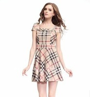 2012 high quality summer women's fashion slim OL outfit elegant fashion plaid one-piece dress