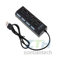 Free Shipping  10pcs/lot  Hot Sell Four Port USB Hub With  Separate Switch
