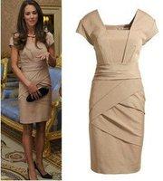 FREE SHIPPING! S-XL free shipping British Princess Kate same style slim women's dress (colors black+skin)#3018
