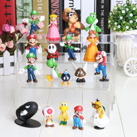 High Quality PVC Super Mario Bros Luigi Action Figures 18pcs/set youshi mario Gift OPP retail