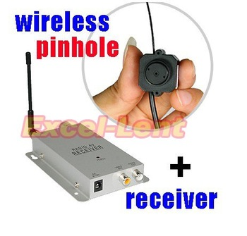 Mini Hidden Pinhole Wireless Camera For CCTV Security Surveillance + Receiver, Free Shipping