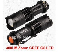 Zoomable Led flashlight with Cree Q5 Led bulb,portable using for security, 1 piece  free shipping