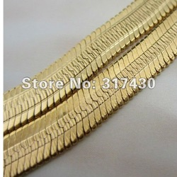 "hot selling! Fashion Necklaces 18k yellow Gold Filled Men's Necklace 20"" /6mm Snake flat Chain Links GF Jewelry Free Shipping(China (Mainland))"