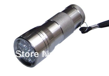 1Piece freeshipping 12 LED UV Ultra Violet Aluminum Alloy Flashlight Blacklight Torch use to check money ticket