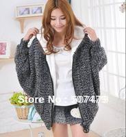 Korean Style Women's Hooded High-quality Long Sleeve Plus Velvet Cardigan Big Zipper Thick Mohair Blend Sweater