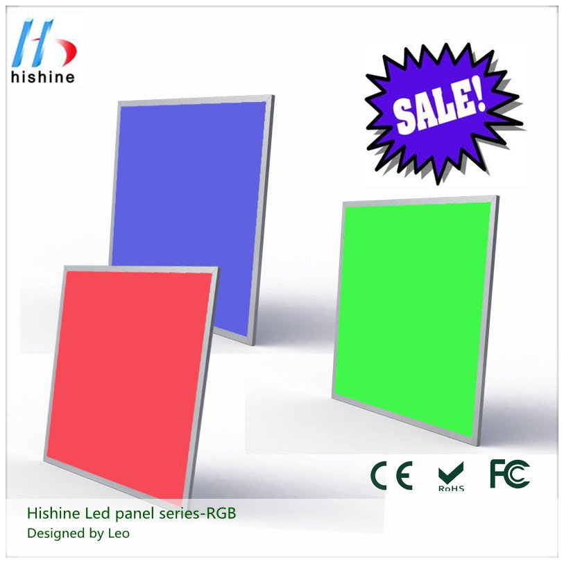DHL Free shipping USD190/pc high brightness colorful 50w led flat panel light RGB with remote controller(China (Mainland))