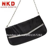 Free Shipping, Women Black Fold Clutch Evening Bag/Purse/Messenger Bag, Lady Handbag