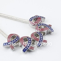 Wholesale 100x Enamel USA America Flag Ribbon European Charms Beads Fit Bracelet PA61-100