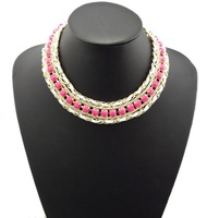 No min order New Arrival Fashion Gold Plated Resin Gem Choker Bib Statement Necklace Beads Collar Necklaces