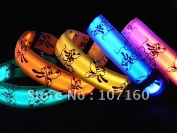 Free Shipping Lovely dog cartoon LED Pet Collar Cat Flashing LED Lighted Dog Collars fit for small dogs&cats 5pcs/lot