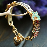 M10125 accessories fashion vintage jc heart sweet butterfly flower bracelet 30g
