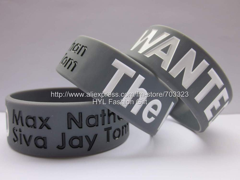"The WANTED Wristband, Max Siva Jay Tom Nathan Fans,custom design,debossed color filled,1"" wide,50pcs/lot,silicone bracelet,(China (Mainland))"