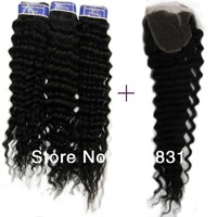 Queen Malaysian Virgin Hair Extension100% Unprocessed Human Hair 4Pcs free shipping 1 pcs Lace top closure with 3pcs Hair Bundle