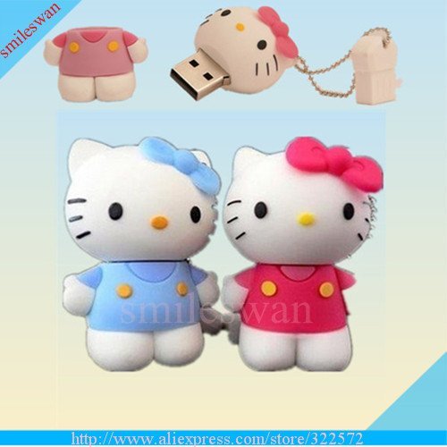 Free Shipping- Wholesale Full Capacity Hello Kitty USB Flash Drive 2G-16G,usb memory animal shape(China (Mainland))