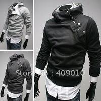 men jacket Free shipping Rabbit fur oblique zipper fleece slim hoodies, men's sweatshirt ,wholesale,1 pc 1 lot