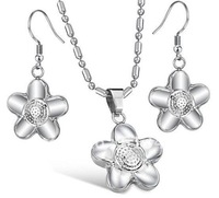 FREE SHIPPING Fashion Jewelry Set Lady Stainless Steel Silver Sunflower Earring&Pendandt Set,Wife Gifts