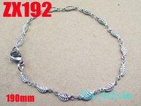 Wholesale - 190mm 7.4 Inch 316L stainless steel 3.8mm leaves shape chain man women fashion bracelet chains ZX192