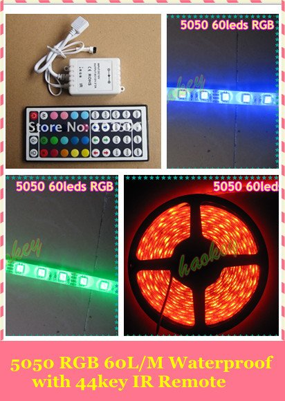 Waterproof led strip 5050 RGB 5M 300 LED Flex SMD Strip & 44 key IR Remote Controller 12V DC(China (Mainland))