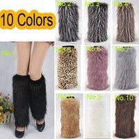 40cm Lady Warm Faux  Rabbit Fur  Leg  Fluffy Shoes Cover
