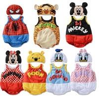 Girls Boys Children Bodysuits  Fit 0-2Yrs Baby Kids One-Piece+Hat Set sleeveless 21Sets/Lot 7 Style 3 Size Free Shipping