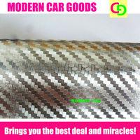 wholesale 152cm x 30m silver 3d carbon fiber chrome vinyl film car vinyl car wrap practicable car stickers