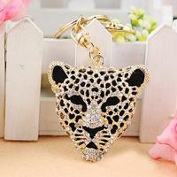 Free Shipping Full Rhinestone,Crystal  Leopard Key chain Alloy Keyring handBag Charm Real Gold Plated ,Nickel free,HSKC0040