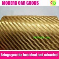 Wholesale 152cm x 30m golden 3d carbon fiber chrome vinyl film car vinyl car wrap with air free drains gorgeous car stickers